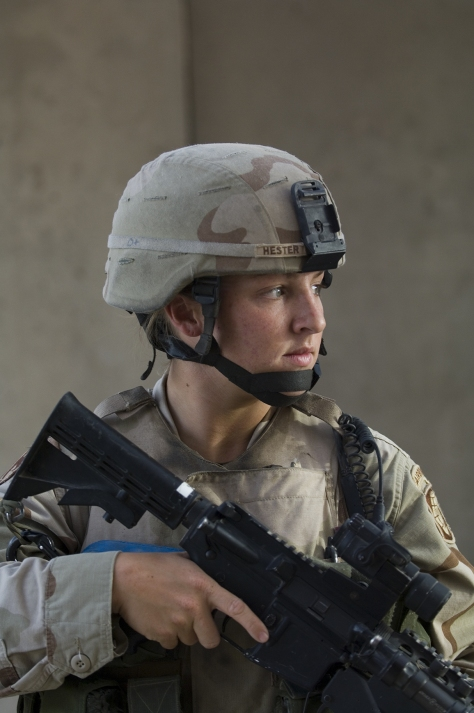 Sgt. Leigh Ann Hester, the first female soldier to be awarded the Silver Star Medal since World War II, was cited for gallantry against armed enemy forces in Iraq in 2005. (Credit: Dennis Steele)
