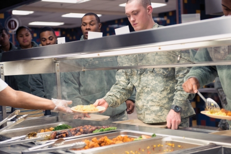Soldiers make choices from the serving line at the Quartermaster School.